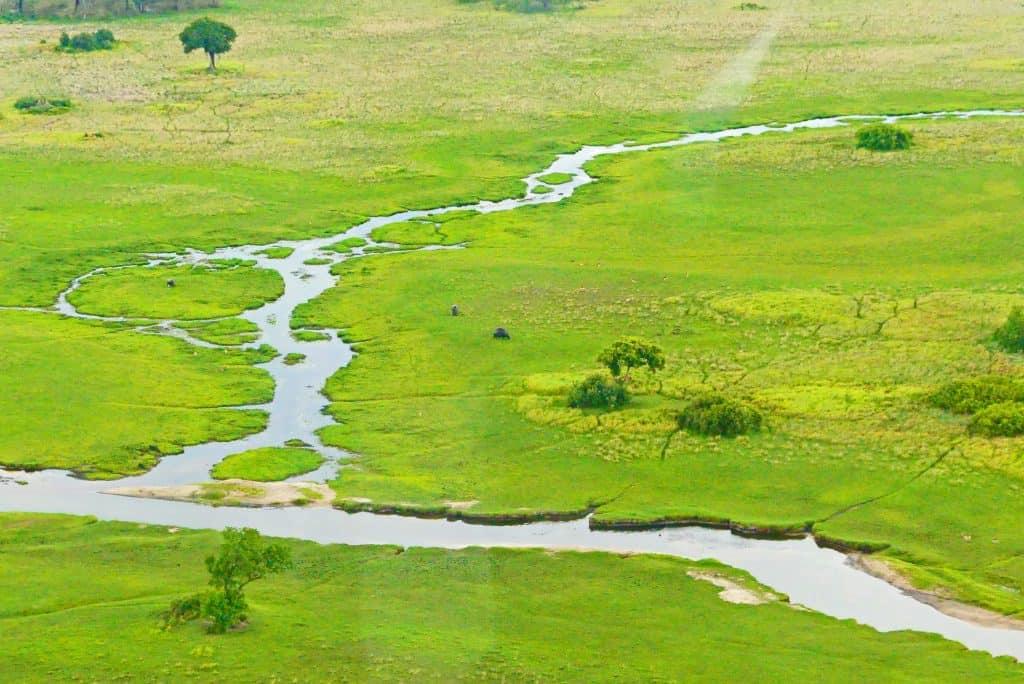 El Okavango desde el aire.