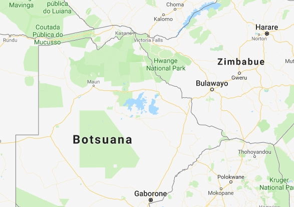Mapa de Botswana.
