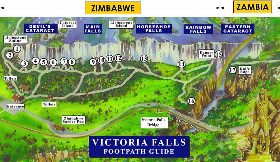 Mapa de Victoria Falls.
