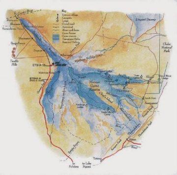 Mapa del Delta del Okavango.