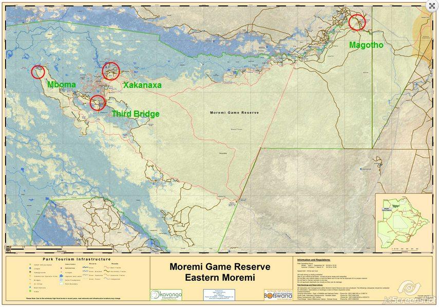 Mapa de Moremi Game Reserve.