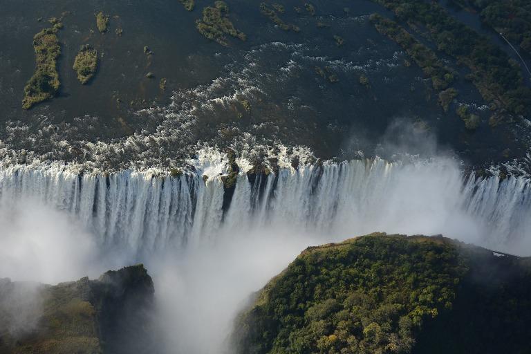 Victoria Falls desde el aire. Primer plano.